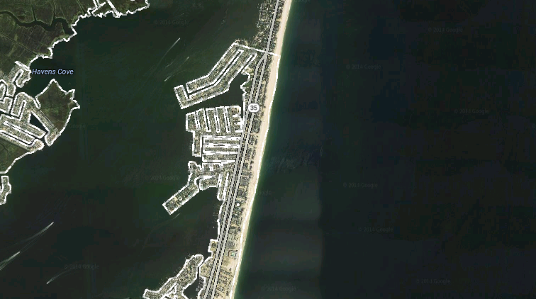 Map of Brick Township's portion of Ocean County's northern barrier island. (Credit: Google Maps)