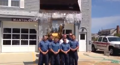 Members of the Mantoloking Police Department take the Ice Bucket Challenge. (Photo: Mantoloking PD)