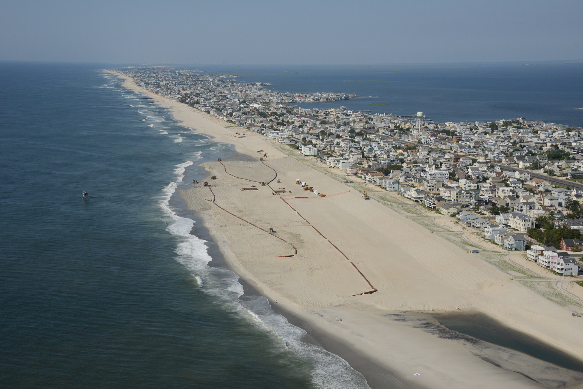 A beach replenishment project in the Brant Beach section of Long Beach Township. A similar project is being planned for Ocean County's northern barrier island. (Photo: U.S. Army Corps of Engineers)