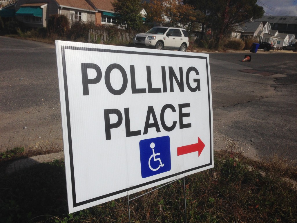 An Ocean County, N.J. polling place sign. (Photo: Daniel Nee)