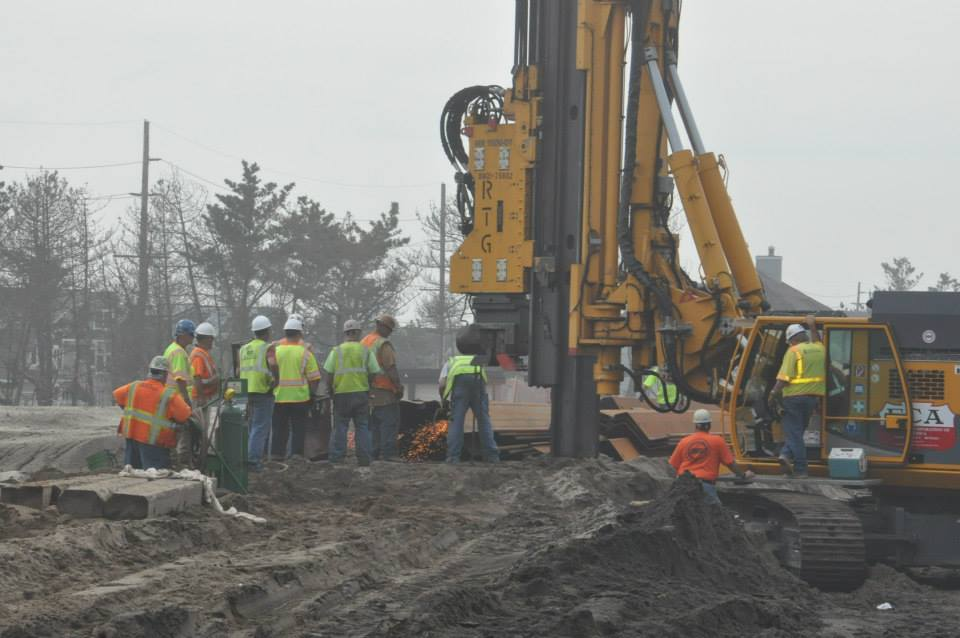 Crews install a protective sheet pile revetment in Mantoloking. Work in Brick begins Aug. 20. (Photo: Township of Brick)