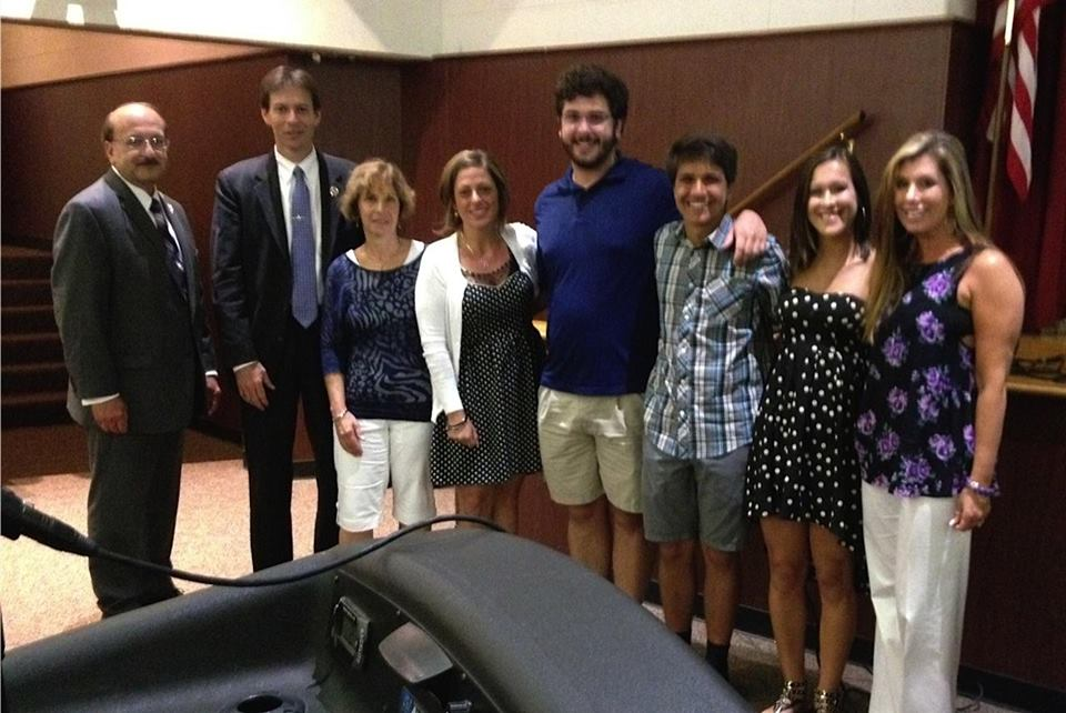 From left: Prosecutor Joseph Coronato, OCPO Agent Michael Colwell, film maker Laura Tufano, SAC Nina Rettino, Brick students Michael Guastaferro, Zachary James and Taylor Mislan, SAC Lori Roland. (Photo: Ocean County Prosecutor's Office)