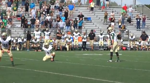 Matt Cuppari warms up before kicking a 40 yard field goal for the Brick Memorial Mustangs. (Screenshot: Shore Sports Network/ YouTube)