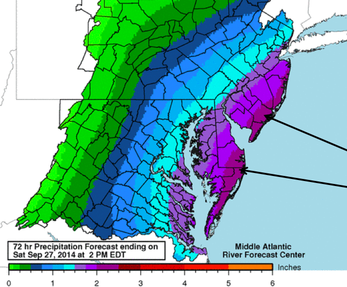 Rainfall amounts expected in a coastal storm hitting New Jersey Sept. 25, 2014. (Photo: National Weather Service)