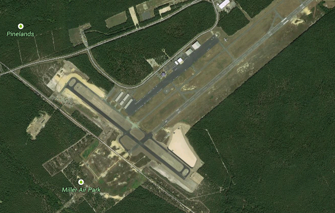 The new cross-wind runway (left) at Ocean County Airport. (Credit: Google Maps)