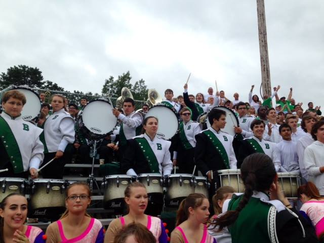 The Brick Township High School Dragons Marching Band, playing from the stands, Sept. 13, 2014. (Photo: Marching Dragon Caravan)