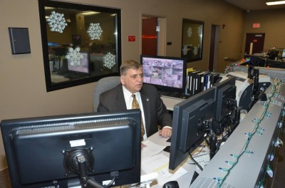 In a photo from Jan. 2014, Sheriff Michael Mastronardy sits at a communication desk at the Ocean County Sheriff's Department. (File Photo: OCSD)