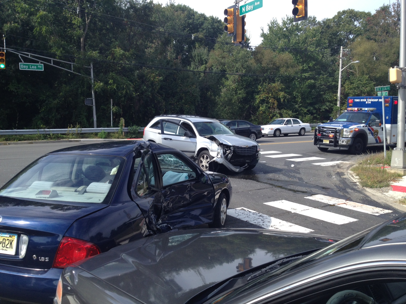 A crash at Bay and North Bay avenues in Toms River, Sept. 29, 2014. (Photo: TRPD)