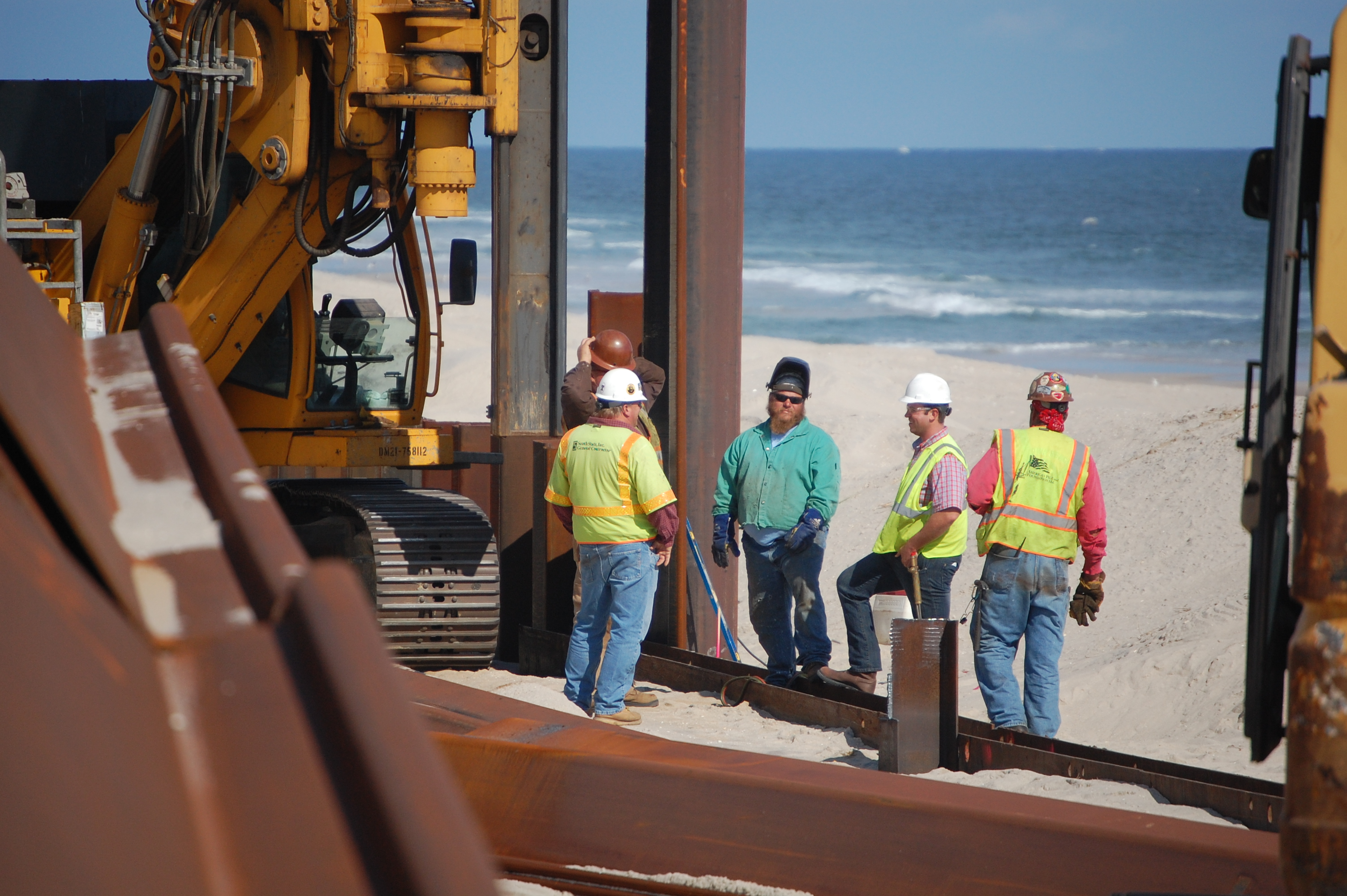 A steel sea wall revetment is built along the oceanfront in Brick, N.J. (Photo: Daniel Nee)