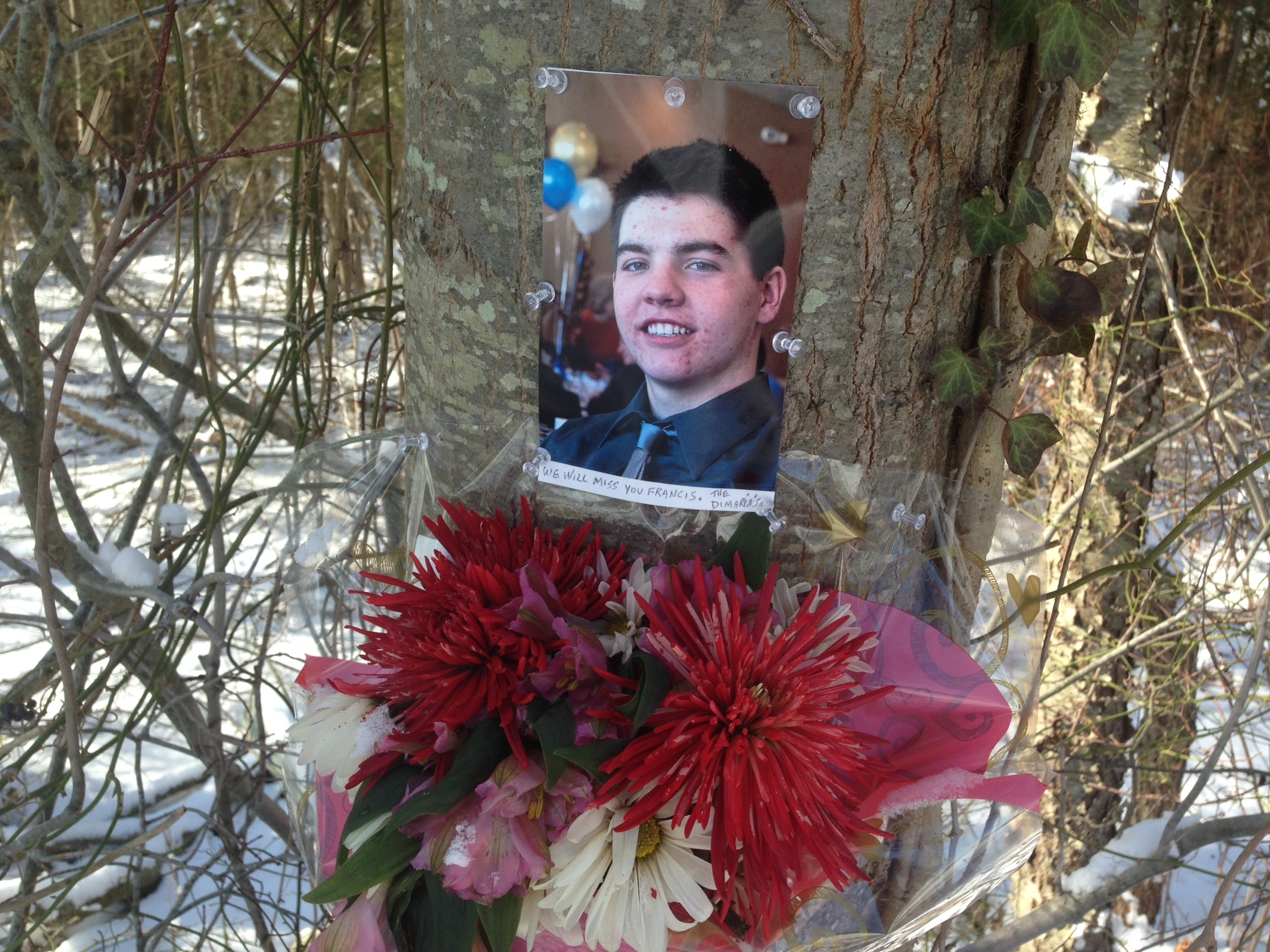 A memorial to Francis Duddy at the scene of a fatal car accident in Feb. 2014. (File Photo)