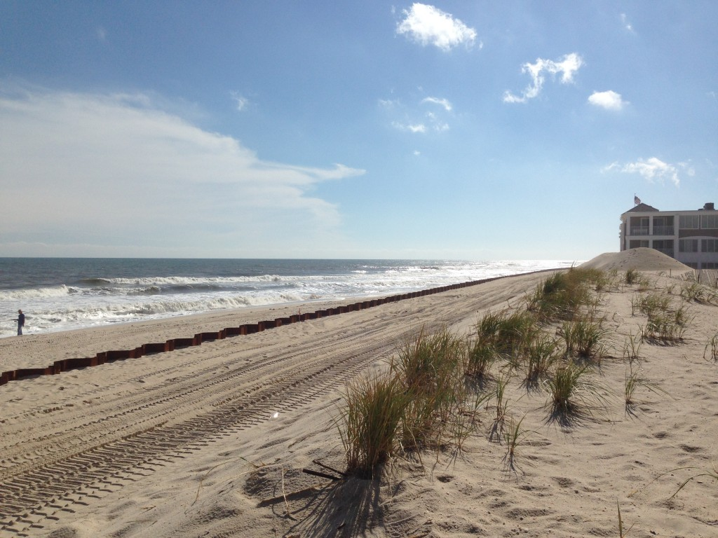 A steel revetment along Brick's oceanfront, looking south from Brick Beach III. (Photo: Daniel Nee)