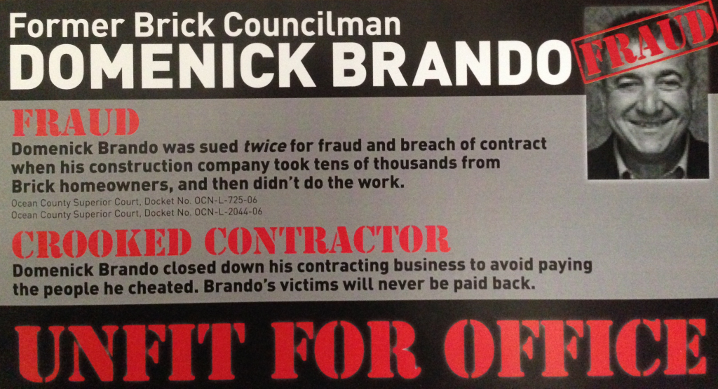 A campaign ad from Brick council candidate Andrea Zapcic, taking aim at her opponent, Domenick Brando.