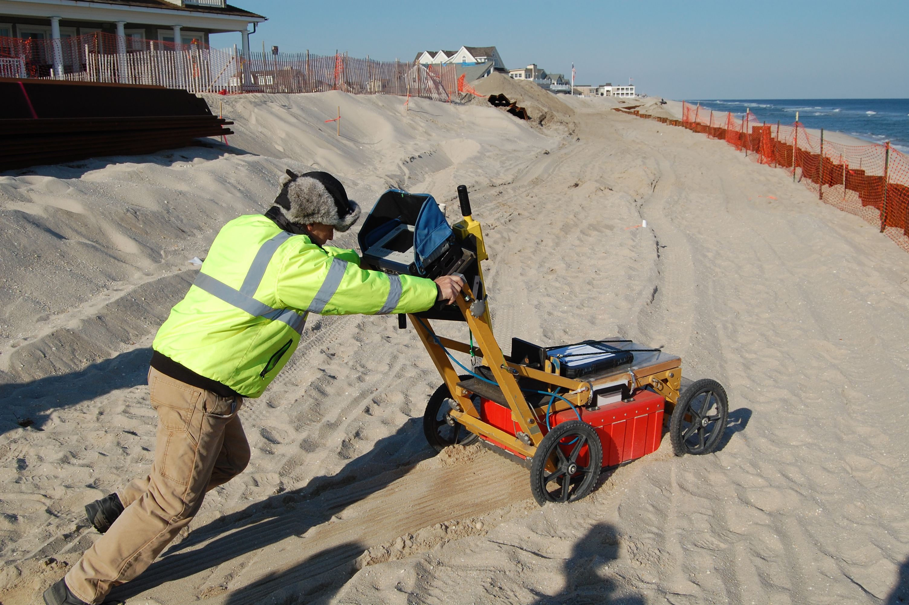 Ground-penetrating radar is used at the site of a shipwreck found in Brick, N.J. (Photo: Daniel Nee)