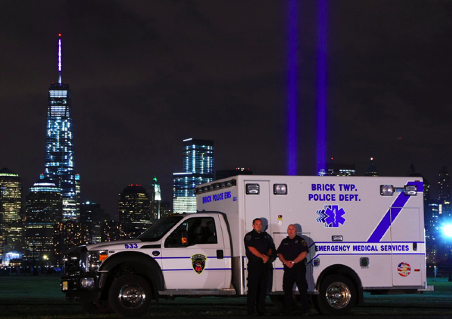 A Brick Police EMS ambulance in a Sept. 11 memorial ceremony. (Photo: Brick Twp. Police)
