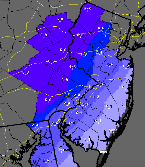 A snow total forecast from the National Weather Service.