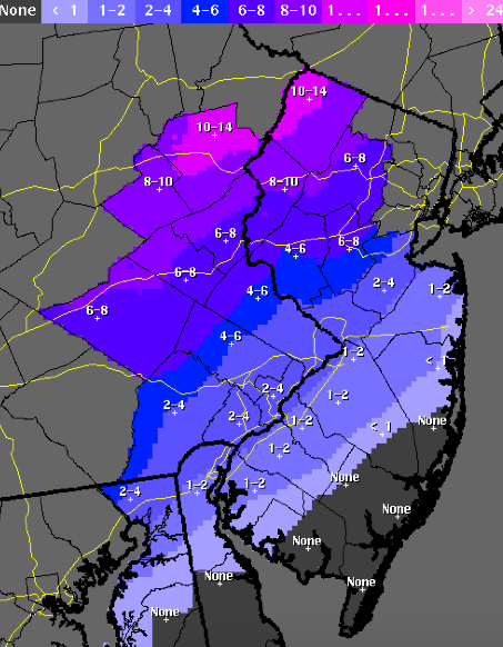 A snowfall total map for the Nov. 26 nor'easter expected to hit New Jersey. (Credit: National Weather Service)