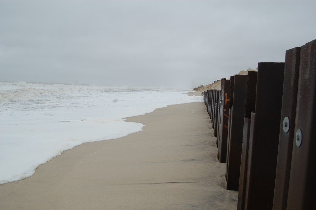 A steel sea wall revetment in Brick, N.J. holds back waves from a nor'easter, Dec. 9, 2014. (Photo: Daniel Nee)