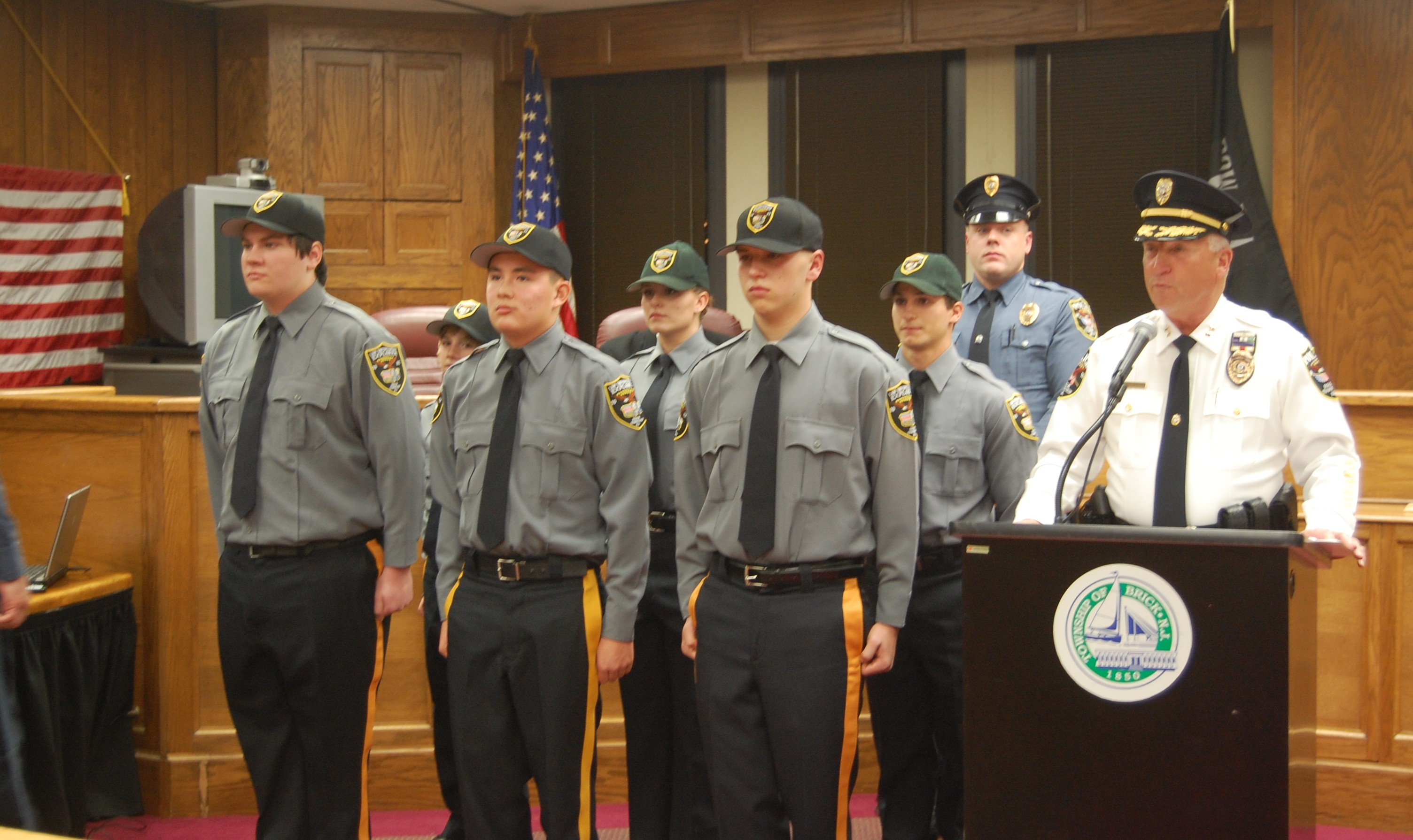 Brick newest police explorers standing with Chief Nils R. Bergquist (Photo: Daniel Nee)