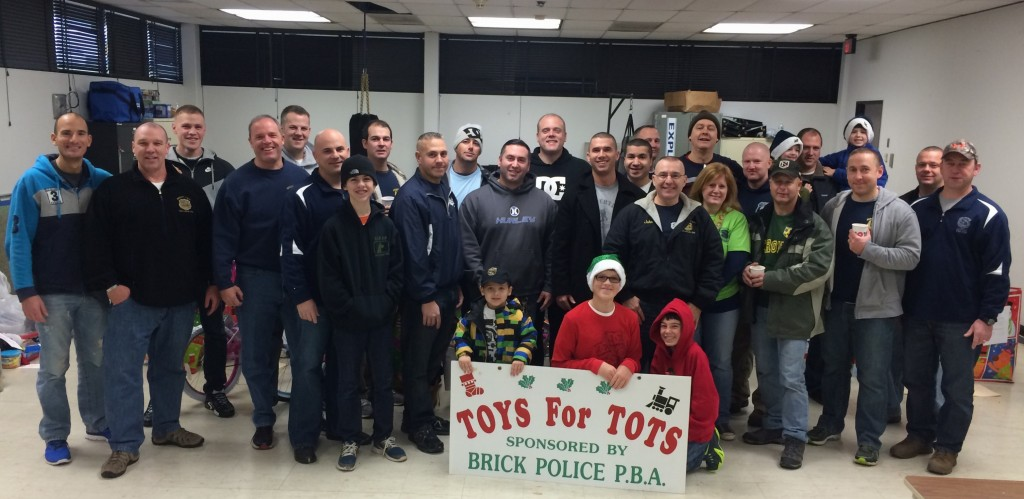 Volunteers with Brick PBA Local 230's Christmas toy drive.