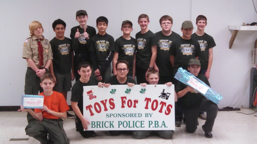 Boy Scout Troop 20 volunteering in the Brick PBA annual toy drive.