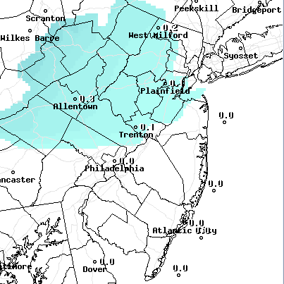A snow accumulation map from the National Weather Service, Dec. 10-11, 2014.