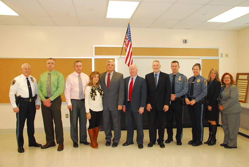 Chief Nils R. Bergquist, Brick Township Police, Captain Ronald Dougard, Brick Township Police, Dr. Richard Caldes, Brick Board of Education, Sharon Cantillo, Brick Board of Education President, Dr. Walter Uszenski, Superintendent of Schools, Mayor John Ducey, Mayor of Brick Township, Robert A. Goldschlag, Director of the DART Coalition, Patrolman John Alexander, Brick Township Police Department, Patrolwoman Tara Schinder, Brick Township Police Department, Krista Defilipo, Prevention Specialist at the Barnabas Health Institute For Prevention, and Dr. Lorraine Morgan, Brick Board of Education.