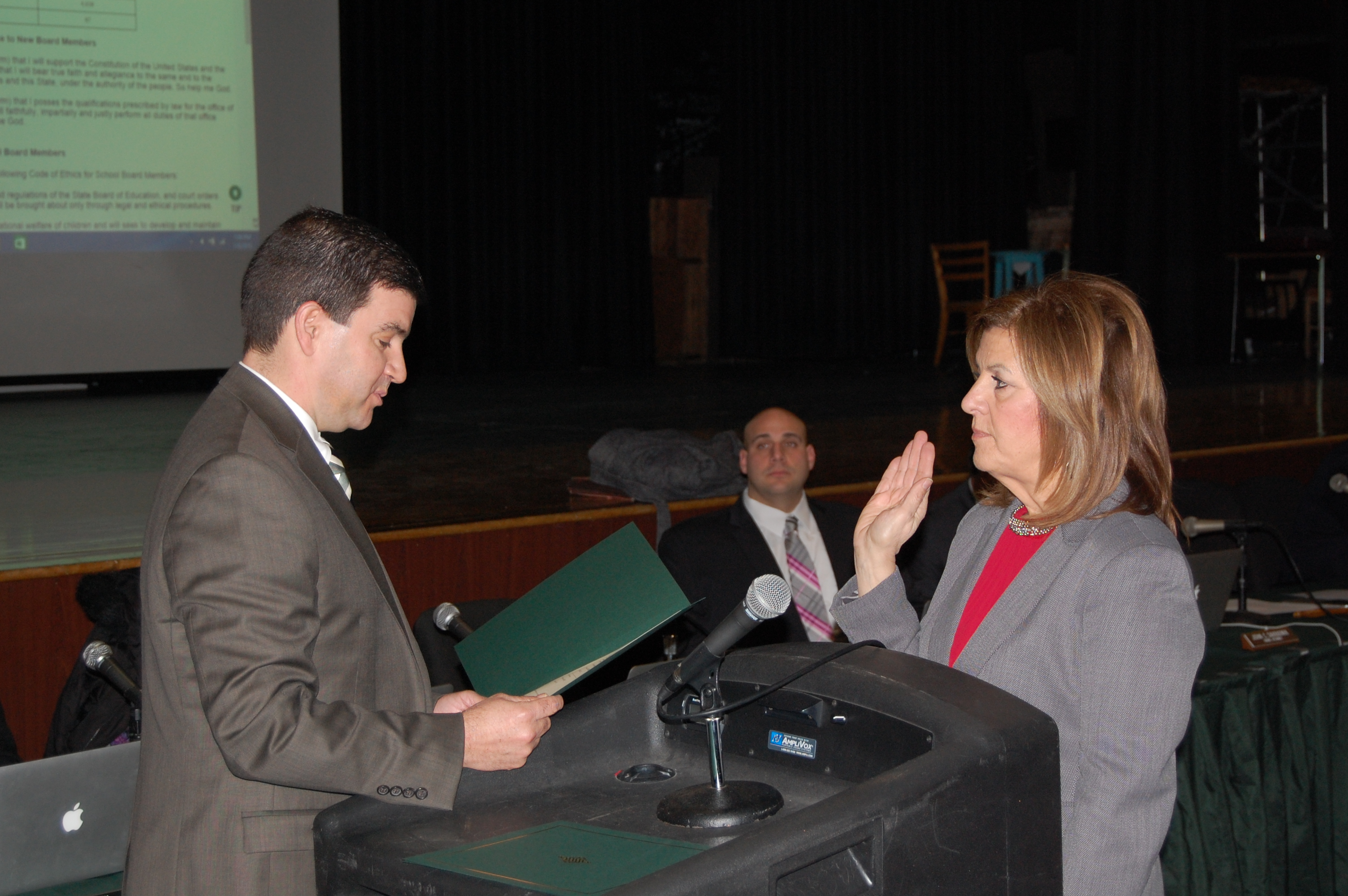 Sharon Cantillo is sworn in by Business Administrator James Edwards as Brick BOE President. (Photo: Daniel Nee)