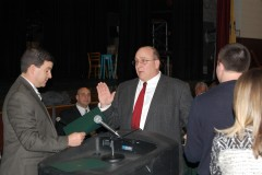 John Barton is sworn in by Business Administrator James Edwards as a Brick BOE member. (Photo: Daniel Nee)