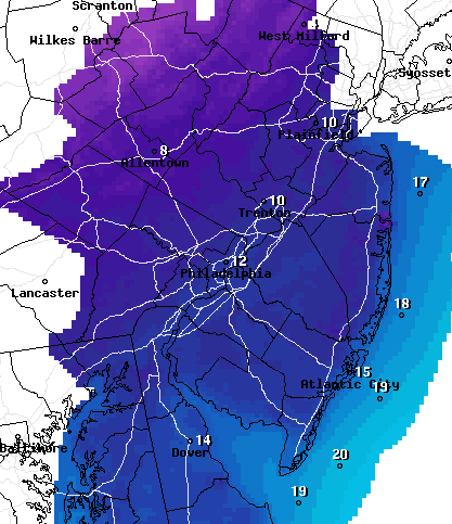 Frigid temperatures are predicted overnight Wednesday. (Credit: NWS)