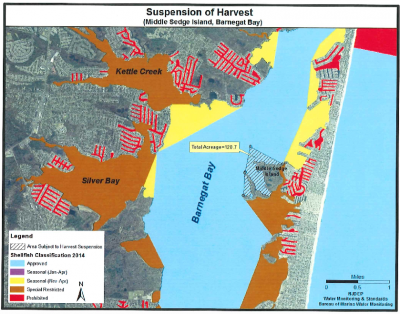 Proposed closure of Barnegat Bay waters for shellfishing. (Credit: NJDEP)