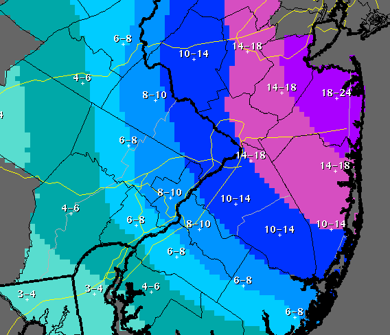 NWS Snow Total Predictions, Jan. 26, 2015, 10 p.m. (Click to Enlarge)