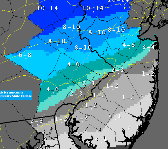 Predicted snowfall totals. (Click to Enlarge)