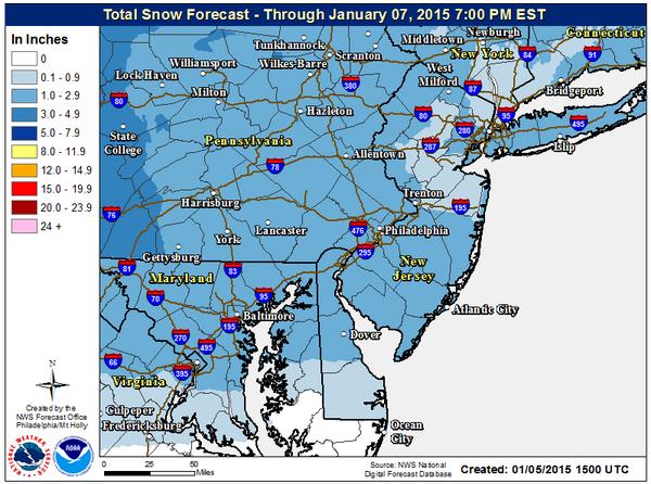 Forecast snowfall for the Jan. 6 snowfall. (Credit: NWS)
