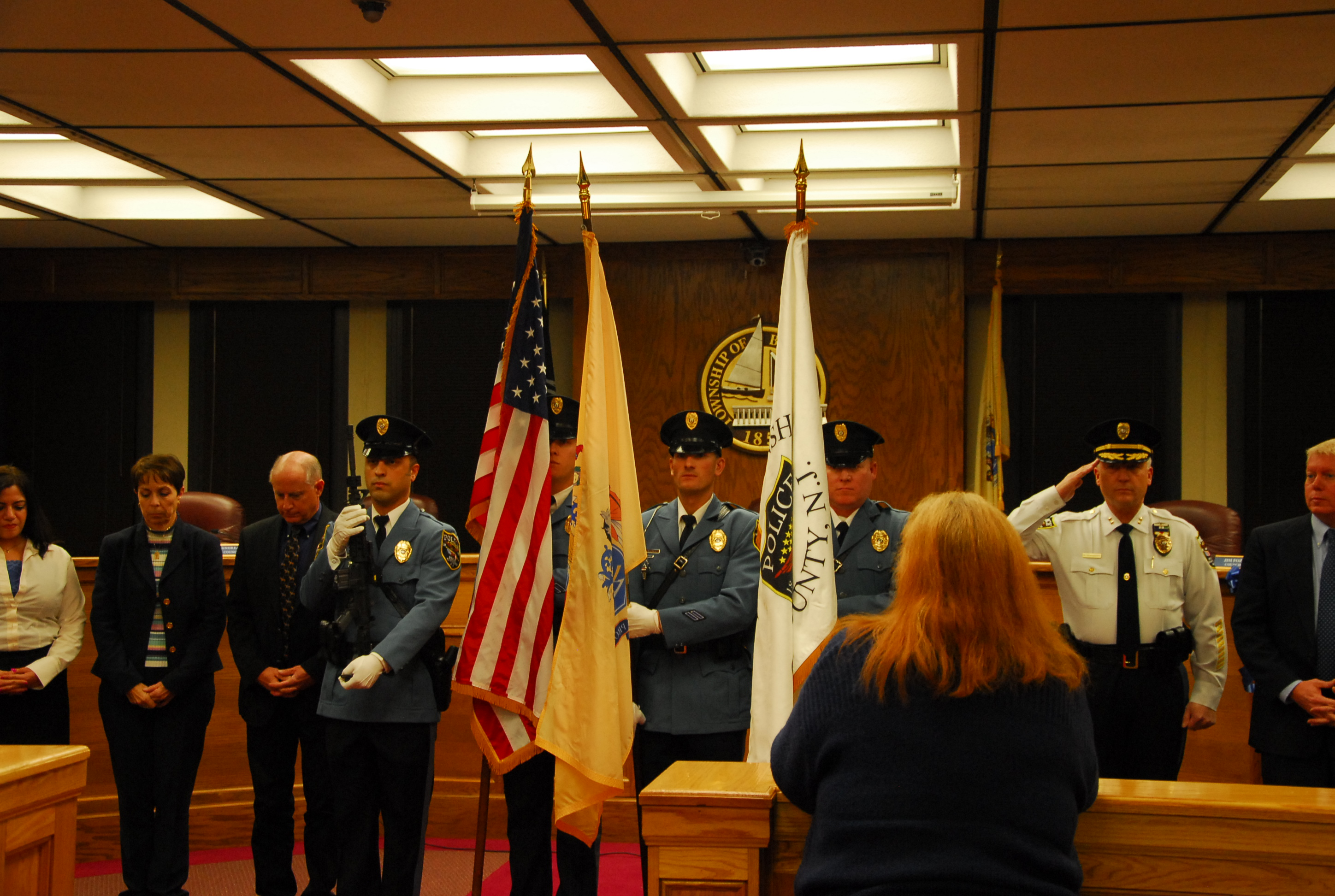 Brick police officers open the Brick council meeting, Feb. 17, 2015. (Photo: Brick Twp. Police)