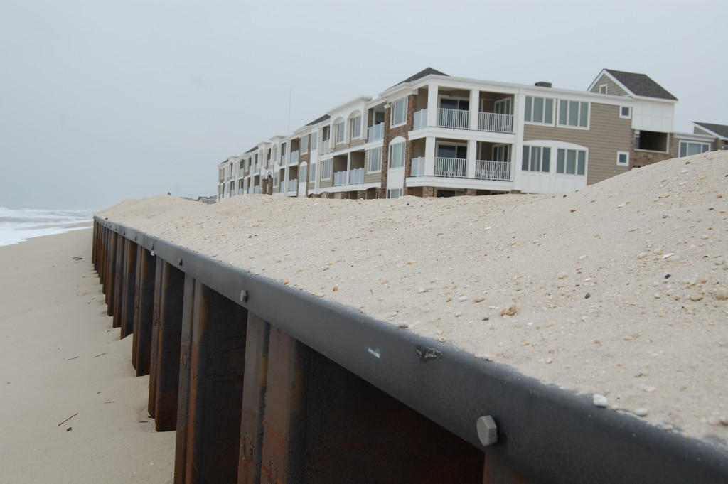 The exposed steel wall revetment at Brick Beach III has created a drop in the beachfront. (Photo: Daniel Nee)