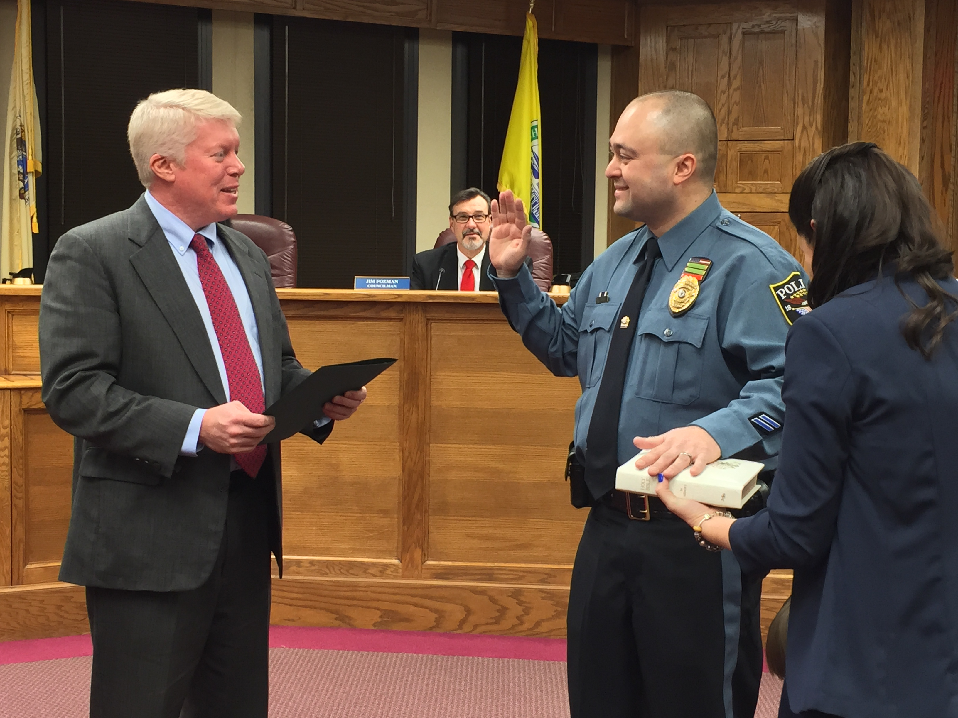 Brick Police Officer Joshua Jensen is sworn in as a sergeant, Feb. 4, 2015. (Photo: Daniel Nee)