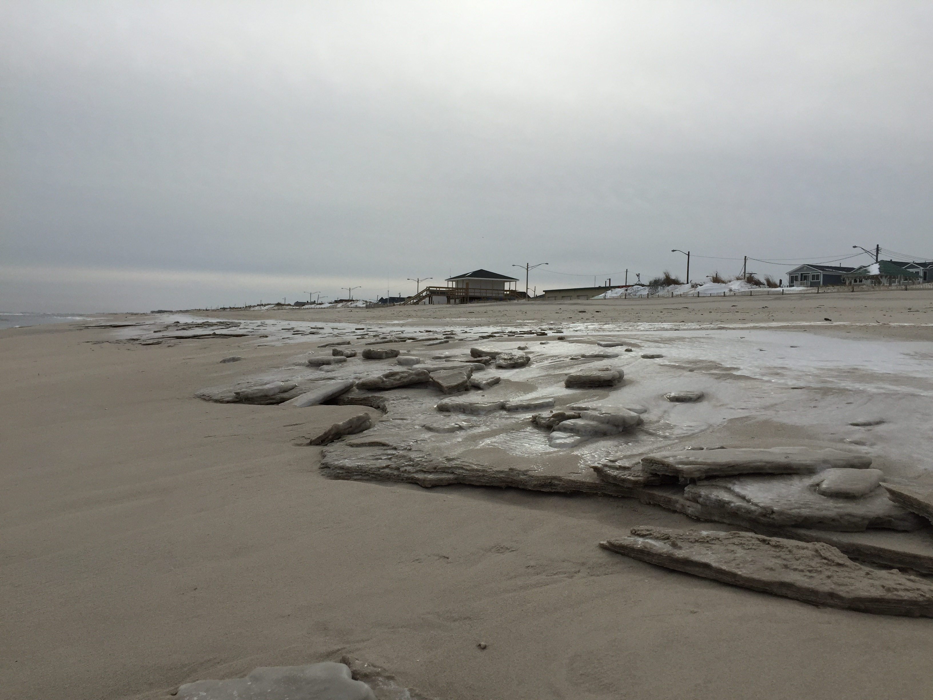 Chunks of ice washed up on the beach in Seaside Park, Feb. 2015. (Photo: Daniel Nee)