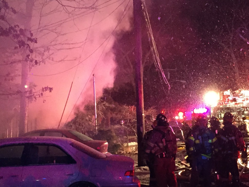 Brick firefighters battle a house fire in the early morning hours of Feb. 17, 2015. (Photo: Daniel Nee)