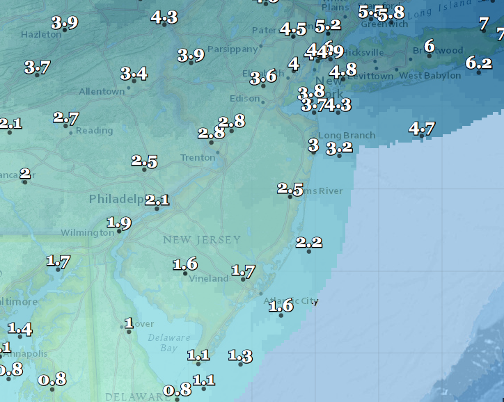 Predicted snowfall totals by Sunday afternoon. (Credit: NWS) Click to expand.