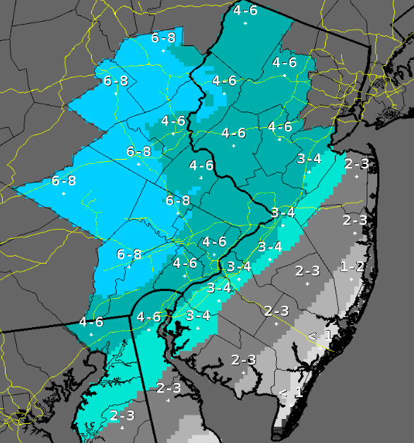 Saturday's snow forecast. (Credit: NWS)