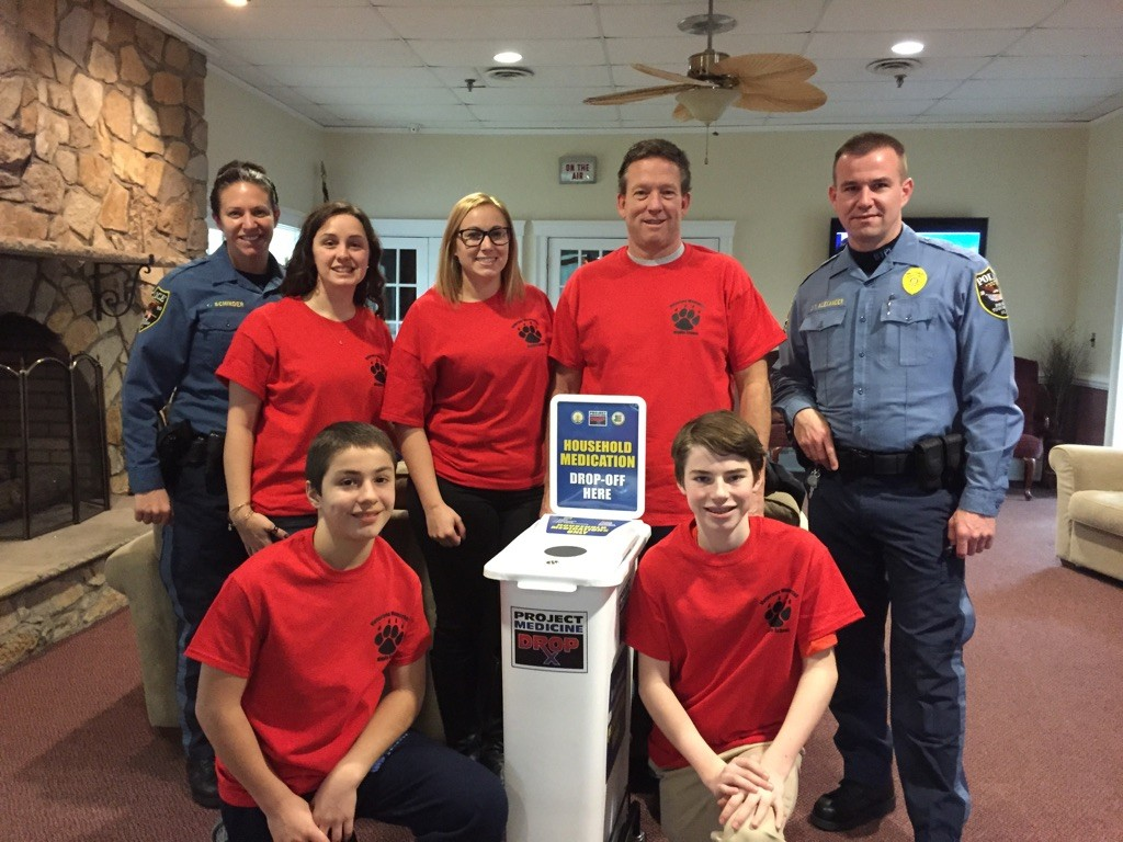 Brick middle school students and Brick police officers teamed up for a collection of unused prescription drugs. (Photo: Brick Twp. Police)