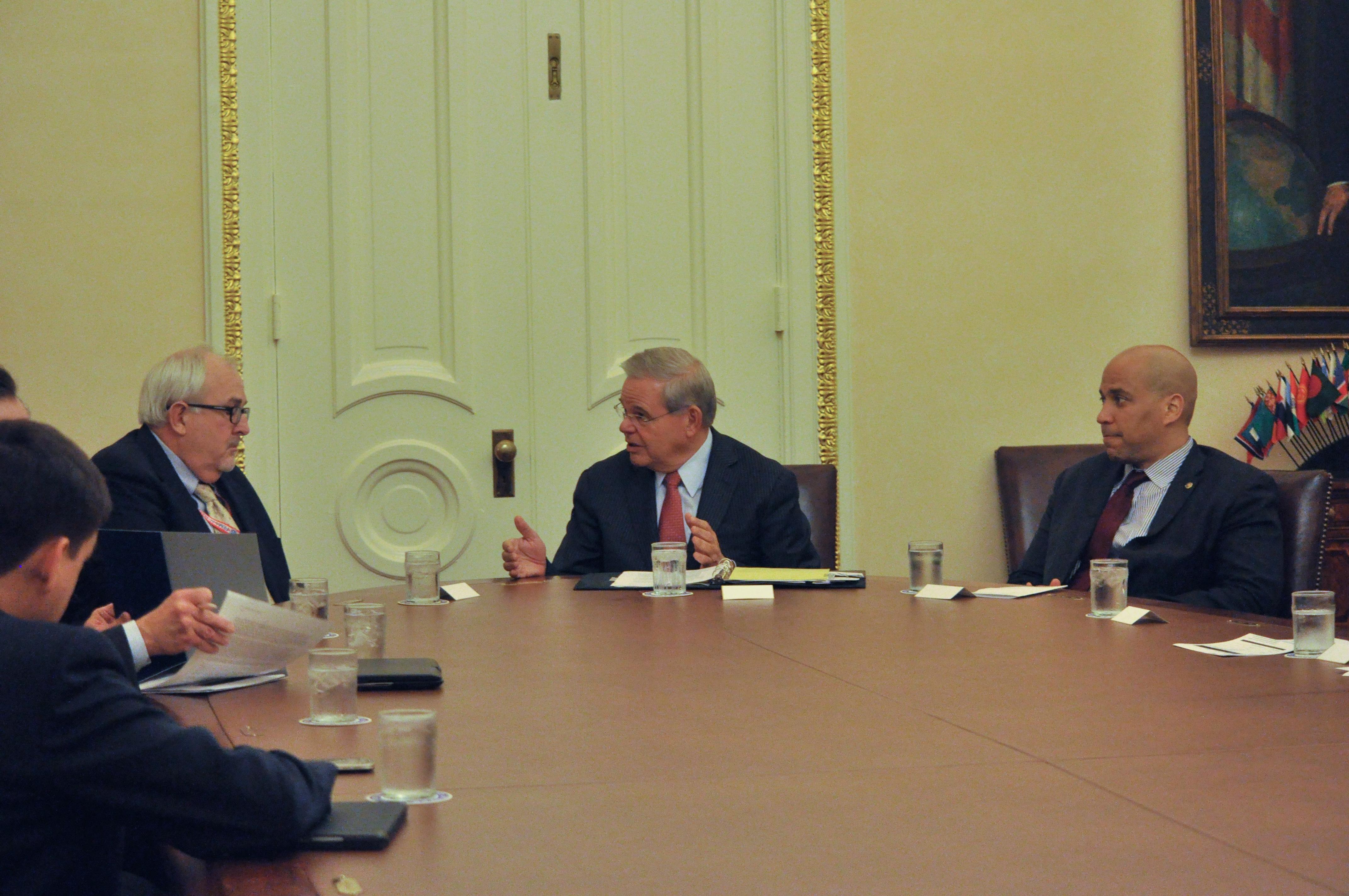 THe U.S. Senators from NJ and NY meet with FEMA head Craig Fugate in Washington, D.C. (Photo: Sen. Bob Menendez)
