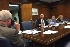 Freeholders John C. Bartlett (left), Gerry Little and County Administrator Carl Block discuss the 2015 operating budget. (Photo: Daniel Nee)