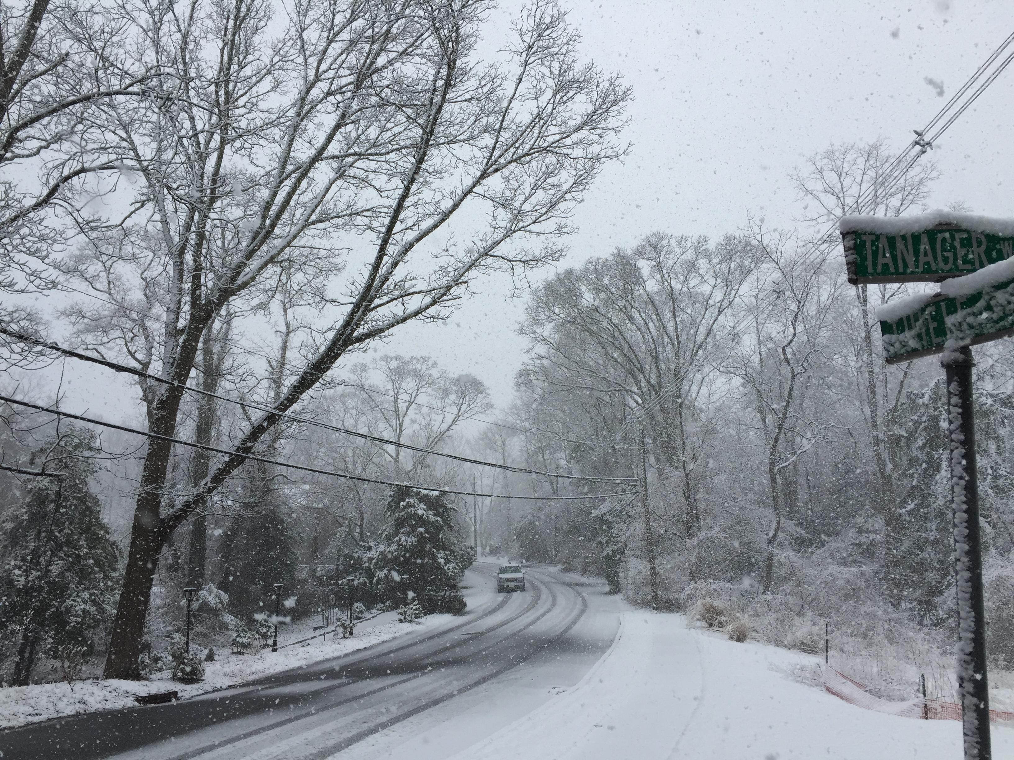 Snow on a street in Brick's Herbertsville section, March 20, 2015. (Photo: Daniel Nee)