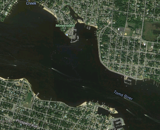 Gladney Avenue, where a vehicle was seen entering the ice on the Toms River, is located near Money Island. (Credit: Google Maps)