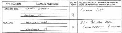 A portion of a job application showing former Brick Assistant Business Administrator Juan Bellu listed a college degree.