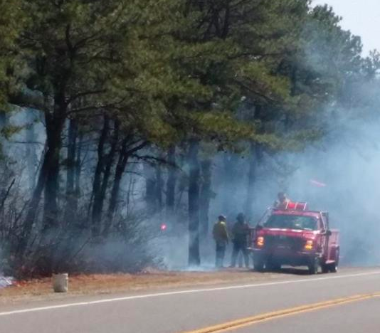The state Forest Fire Service leads a controlled burn on Route 539 in Manchester over the weekend. (Photo: NJ Forest Fire Service)