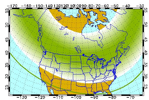 The possible aurora field Tuesday night. (Credit: Univ. of Alaska, Fairbanks)