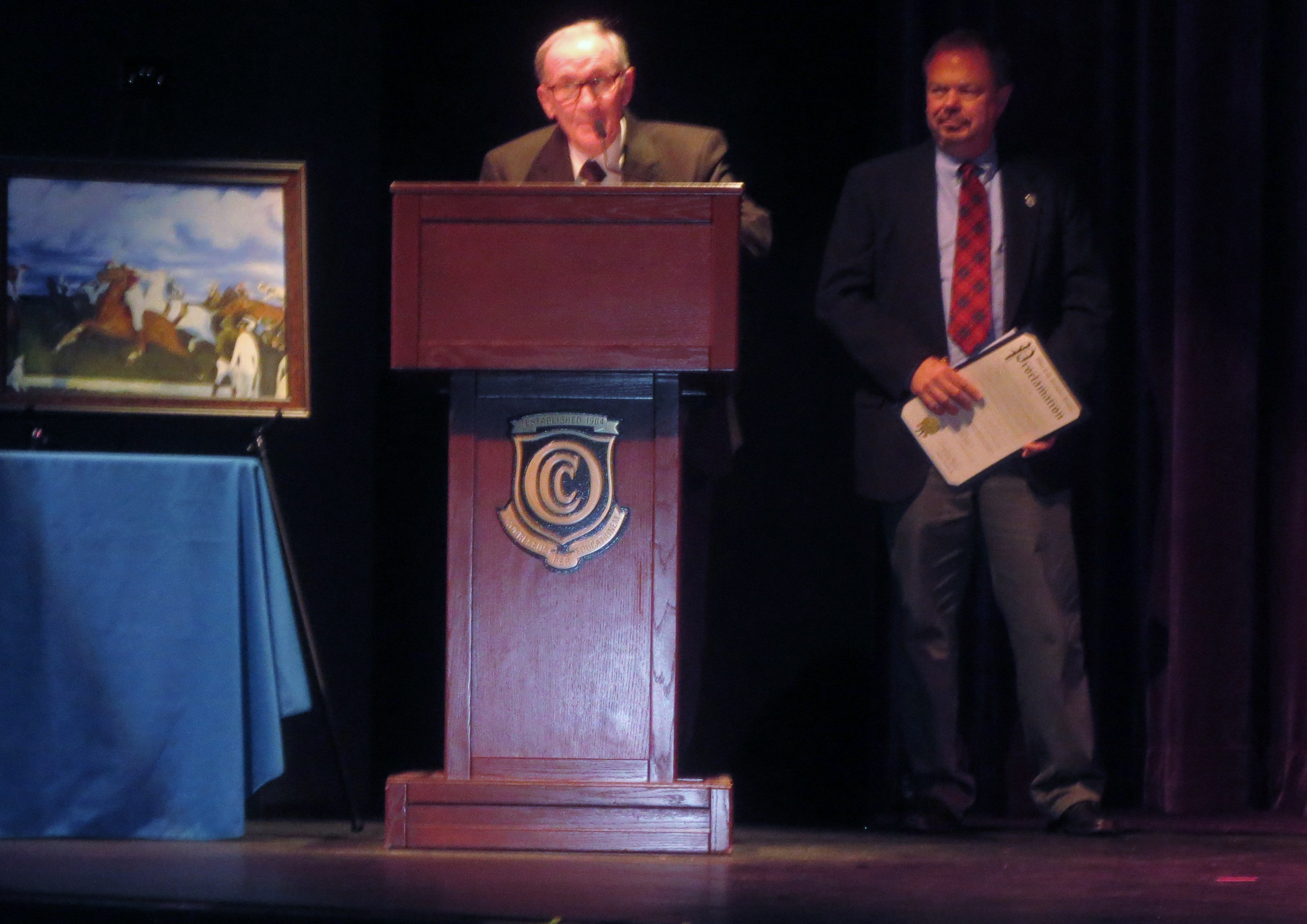 Gene Donatiello, Brick Township Historian, accepts a lifetime achievement award. (Supplied Photo)