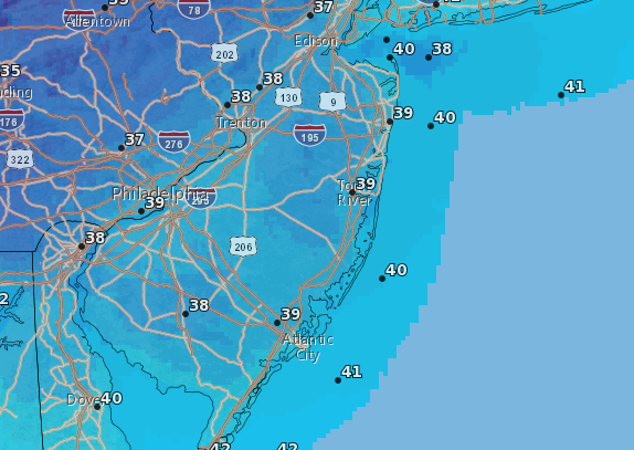 Chilly overnight lows will plague the Shore area through the weekend. (Credit: NWS)